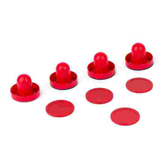 "Sportime® Airhockey Zubehör Set 4 Pusher ""Standard"" (ø 60 mm), 4 Pucks (ø 60 mm), Rot"