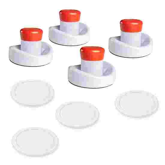 """Sportime® Airhockey Zubehör Set 4 Pusher """"Universal"""" (ø 95 mm), 4 Pucks (ø 75 mm), Weiß"""