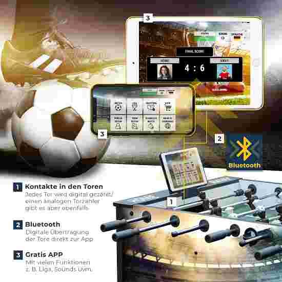 """Sportime® Bluetooth Tischkicker """"Connect & Play"""" Vereins-Edition Gelb-Schwarz"""