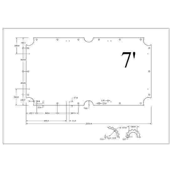 Stradivari Billardtisch Schieferplatten 3-teilig 7 ft