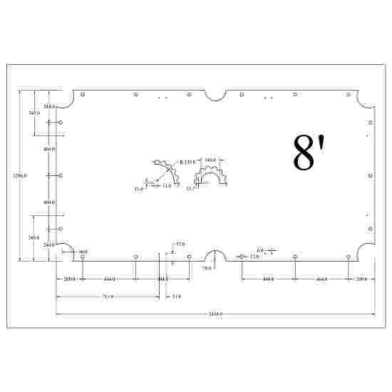 Stradivari Billardtisch Schieferplatten 3-teilig 8 ft