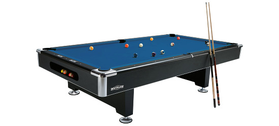 "Automaten Hoffmann Billardtisch ""Club Pro in Schwarz"" 8 ft (Spielfeld 224x112 cm), Simonis 860 Tournament-Blue"