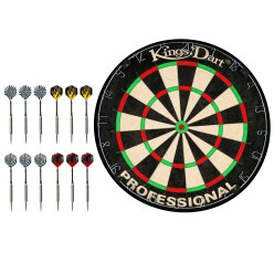"Kings Dart Dartboard ""Professional"" mit 12 Steeldartpfeilen"